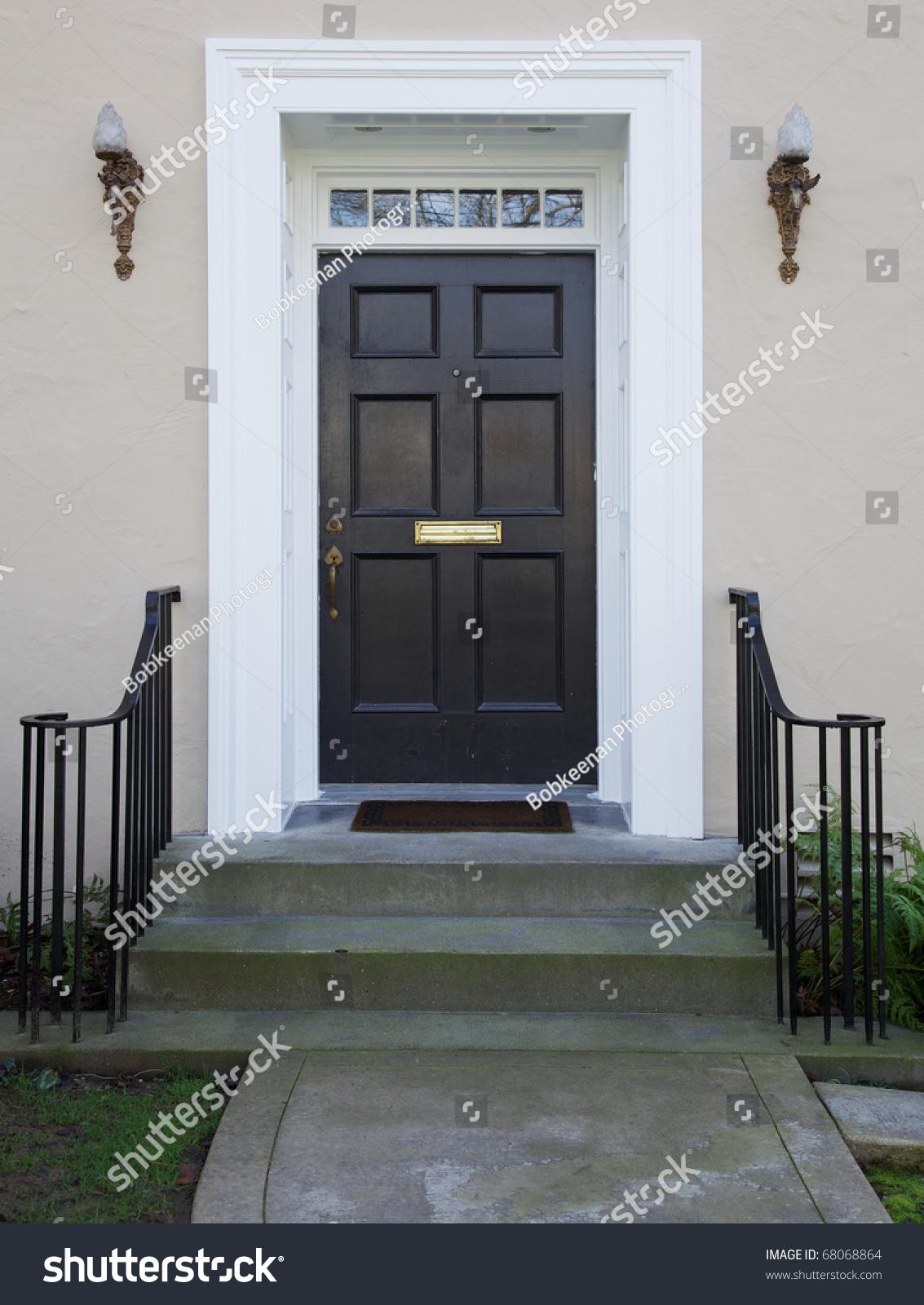 White Wood Bordered Black Door Beige Stock Photo 68068864