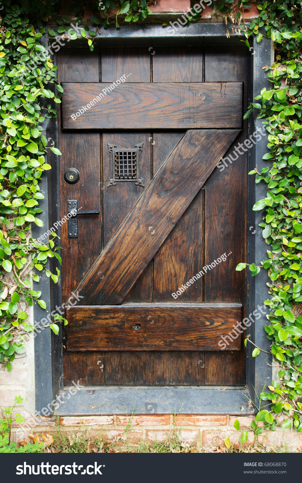 Small Spanish Style Dark Stained Wood Stock Photo 68068870