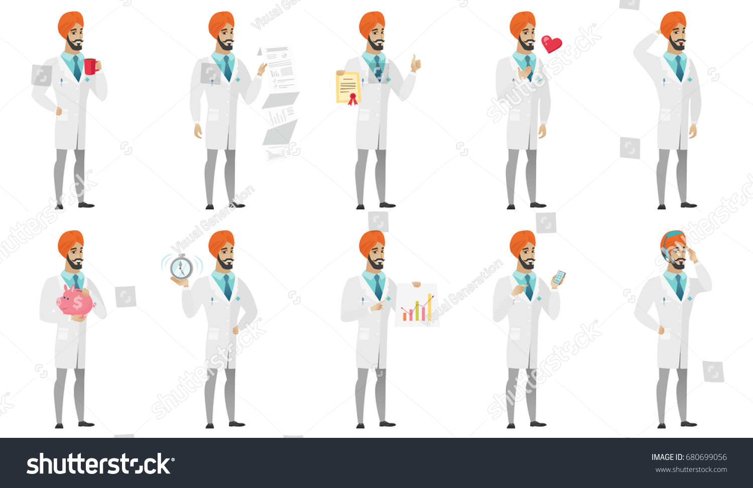 young muslim doctor set doctor drinking stock vector  doctor drinking coffee showing document report diploma