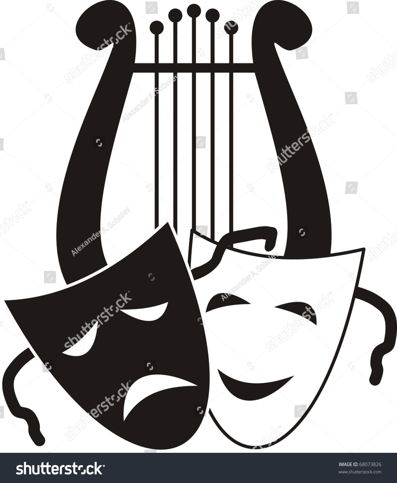 Vector Lyre Masks Symbols Music Arts Stock Vector 68073826 ...