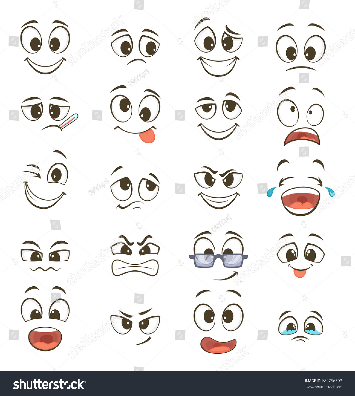 Cartoon happy faces with different expressions. Vector illustrations #680756593
