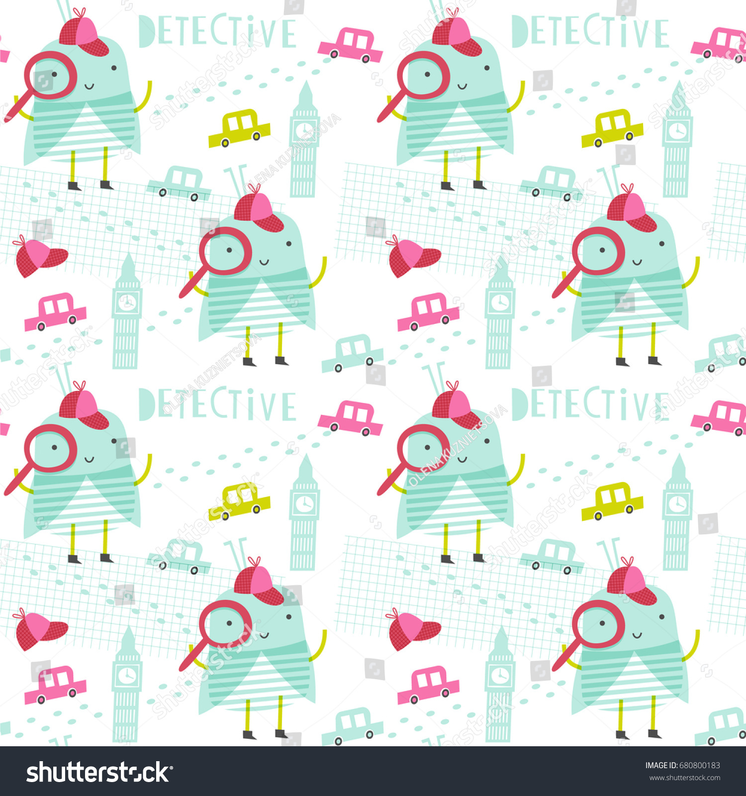 Seamless Vector Pattern Detective Bug Doodle Stock Vector (Royalty ...