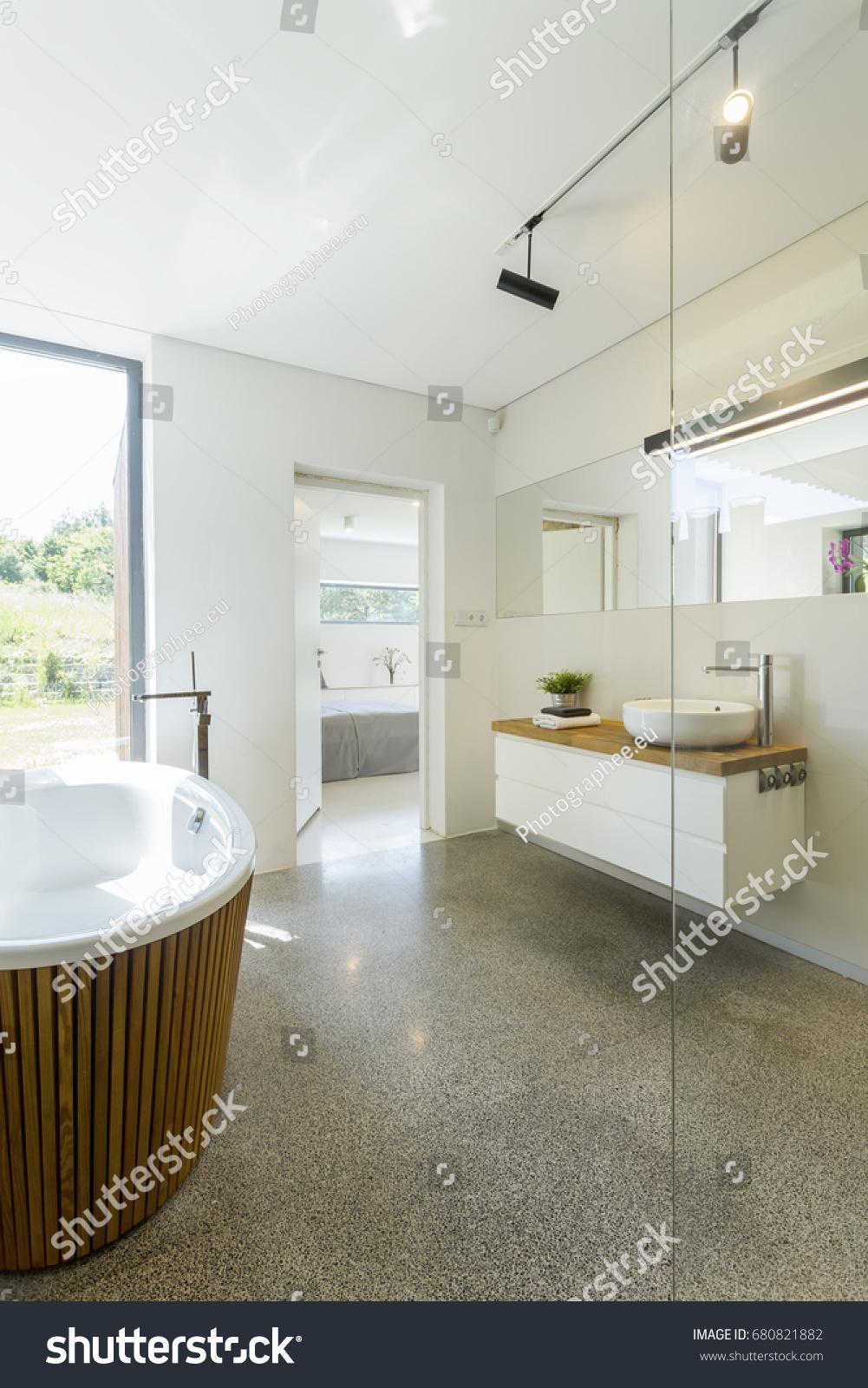 Bright Simple Bathroom Design Granite Floor Stock Photo (Download ...