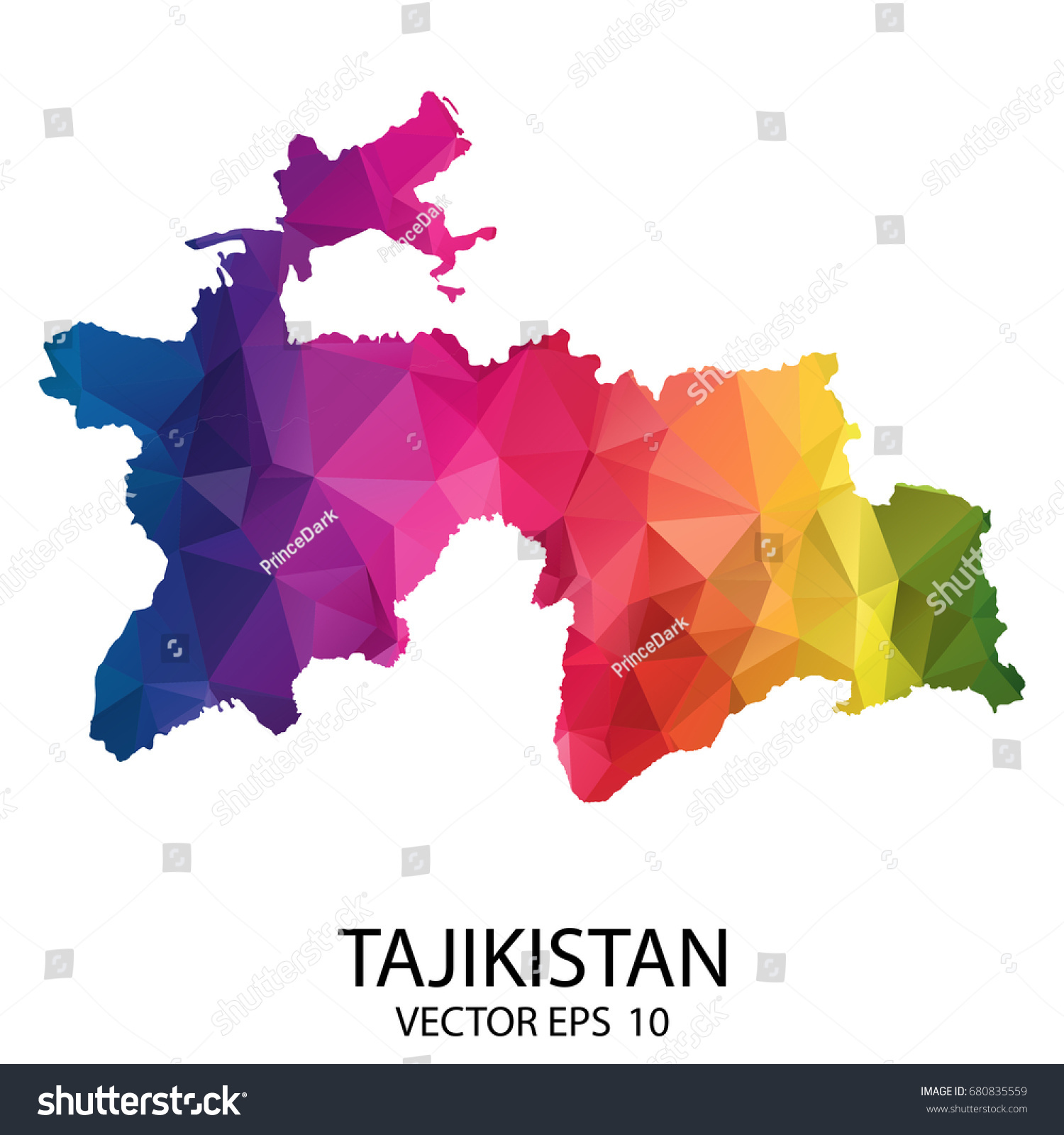 Abstract Polygon Map Vector Illustration Low Stock Vector - Tajikistan map vector