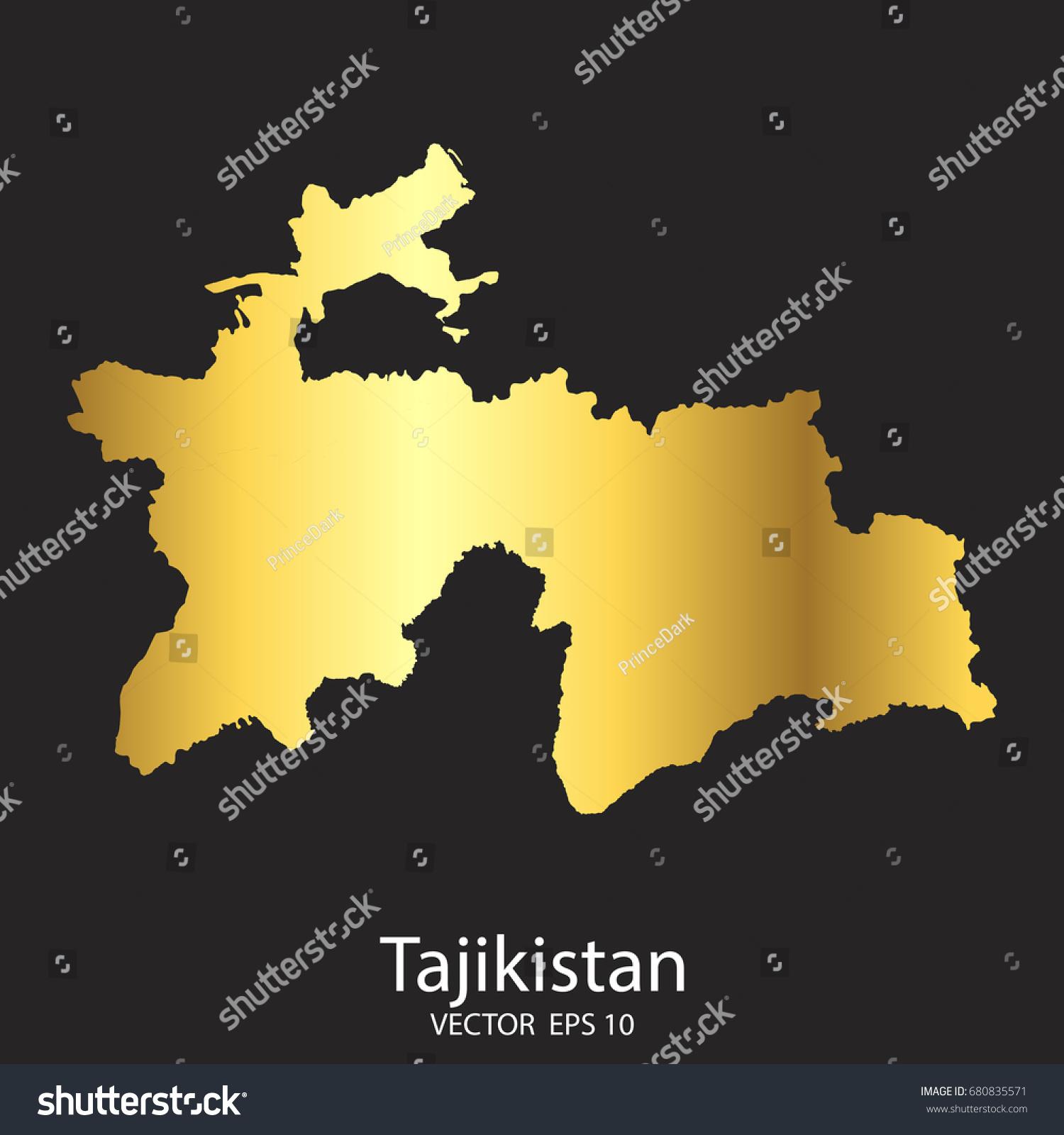 Gold Tajikistan Map Vector Eps Stock Vector - Tajikistan map vector