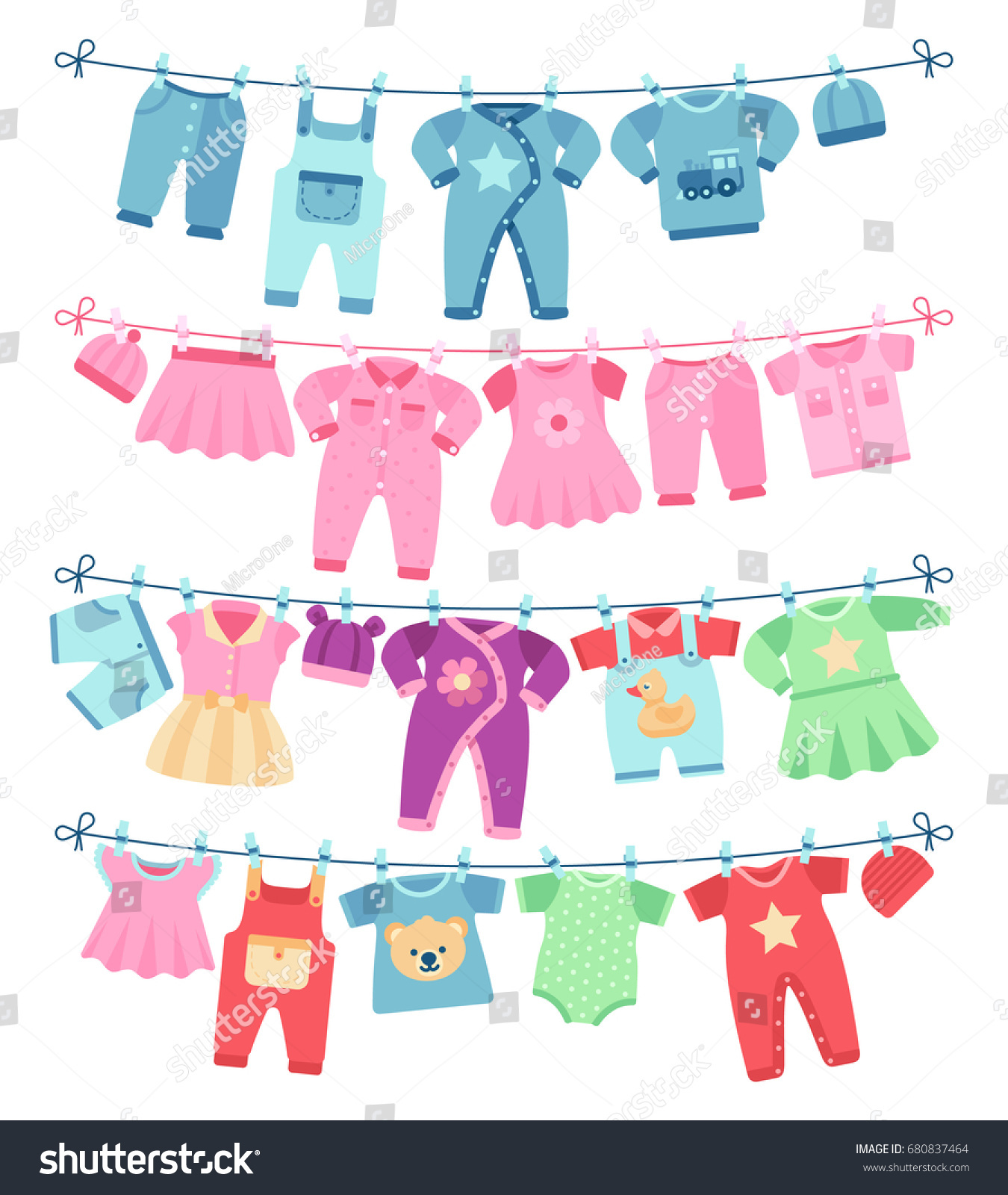 Baby Clothes Drying Clothesline Vector Stock Vector