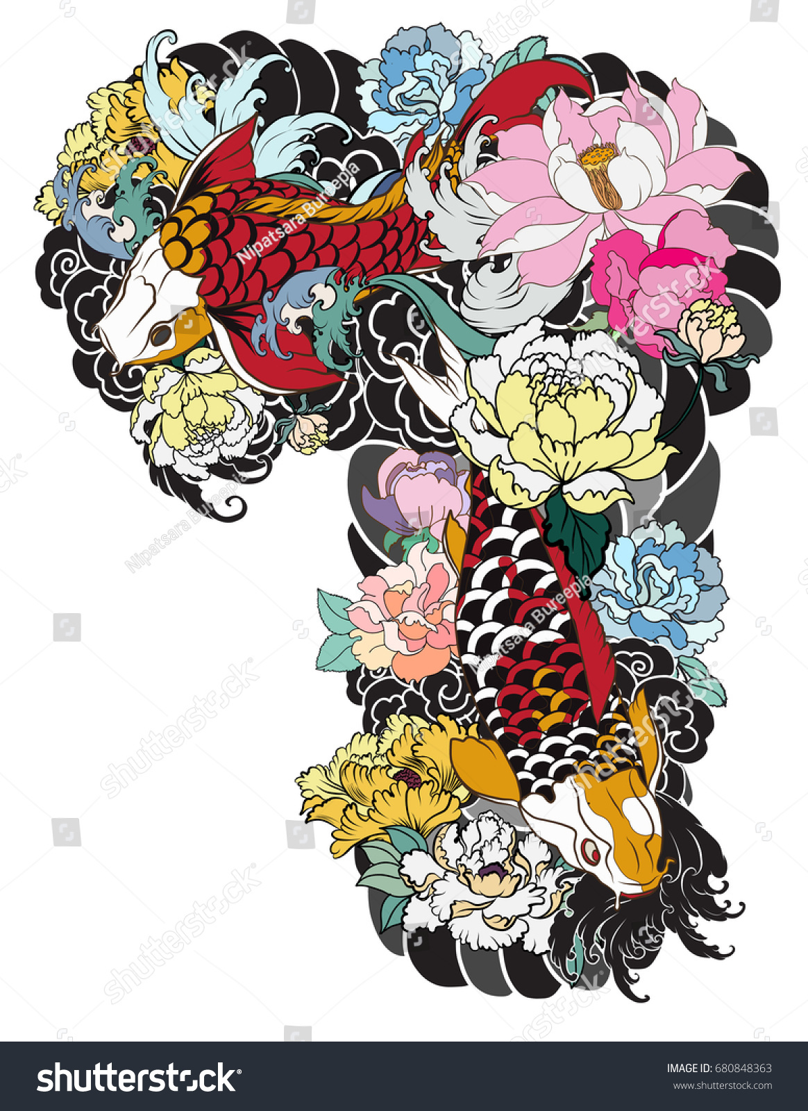 Traditional japanese tattoo design for upper arm to chest colorful hand drawn koi carp