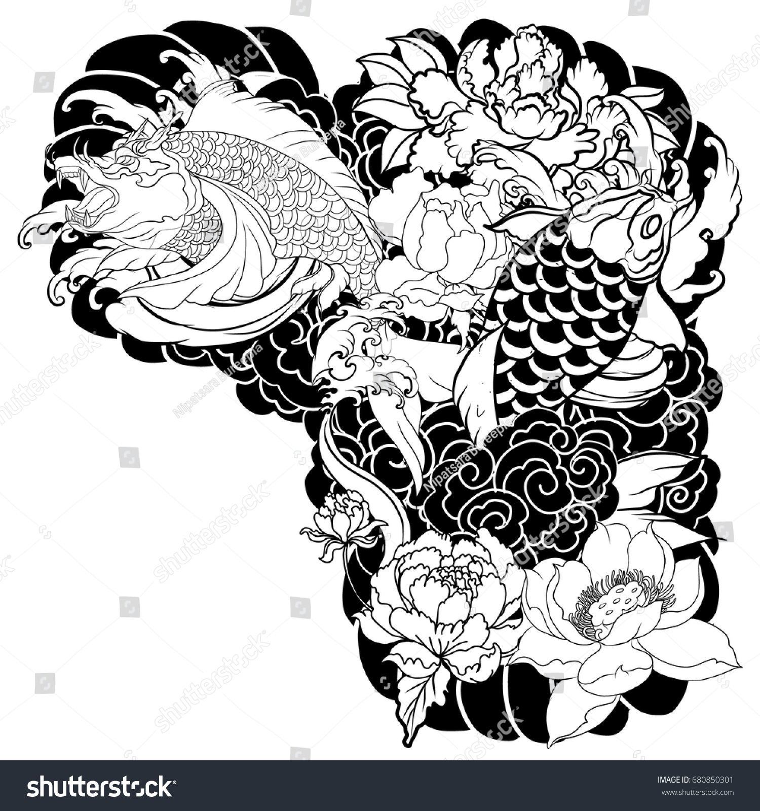 Hand drawn koi carp fish with peony flowers lotuses and water splashes traditional japanese chest or upper arm tattoo design or coloring book