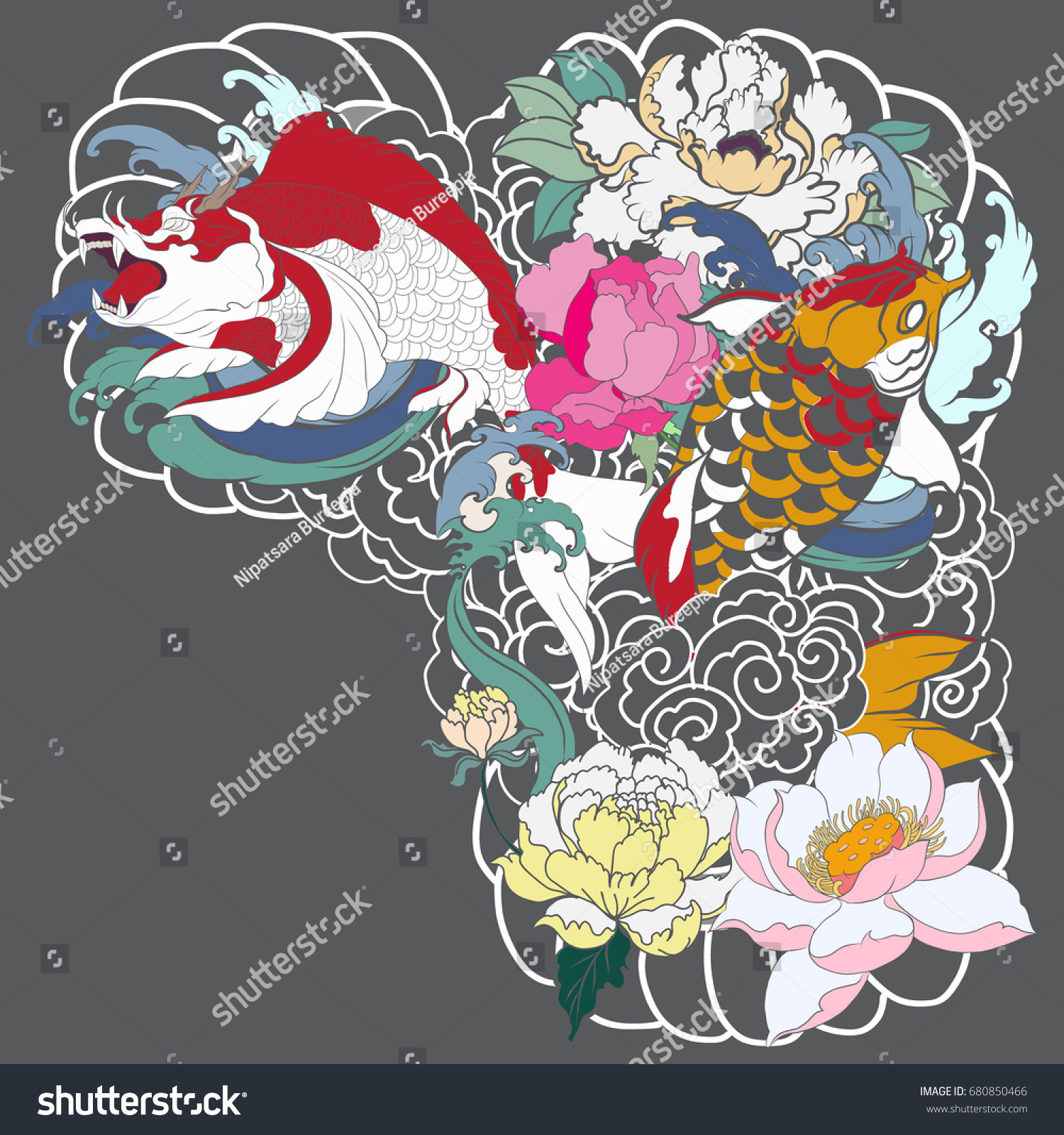 Traditional japanese tattoo design for upper arm to chest colorful hand drawn koi carp fish with peony flowers lotuses and water splashes