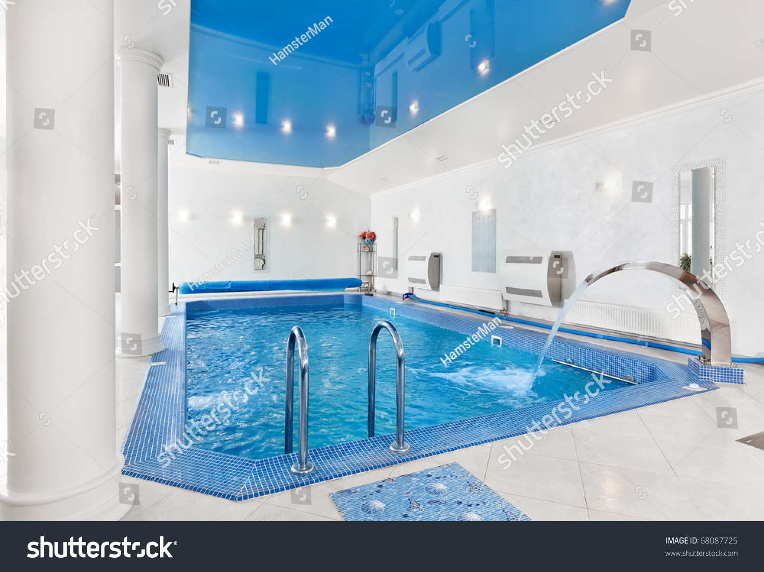 Indoor big blue swimming pool interior in modern minimalism style stock photo 68087725 for Uq swimming pool opening hours