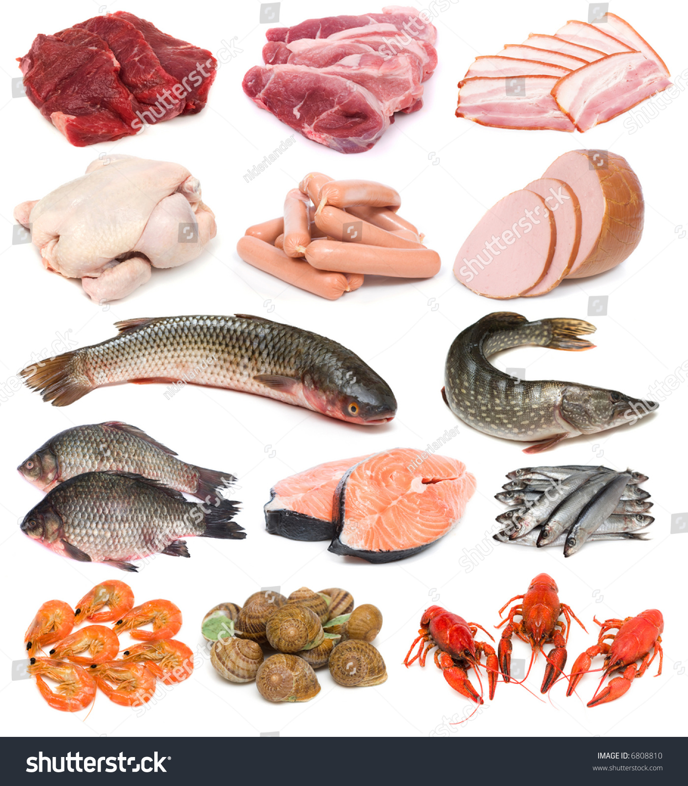 Image set fresh meat fish seafood stock photo 6808810 for Is fish seafood