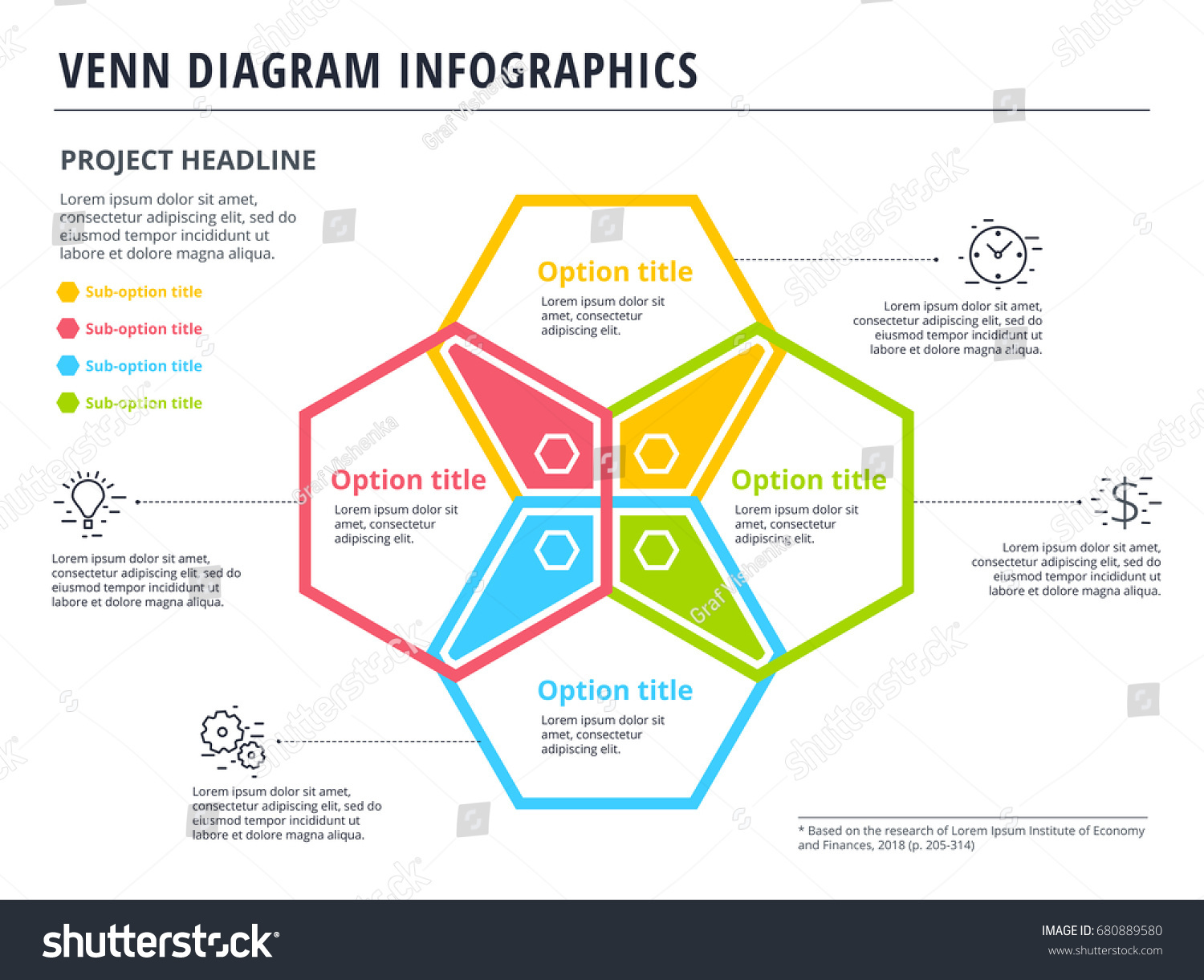 Venn diagram 4 circles infographics template stock vector venn diagram with 4 circles infographics template design vector overlapping shapes for set or logic pooptronica Images
