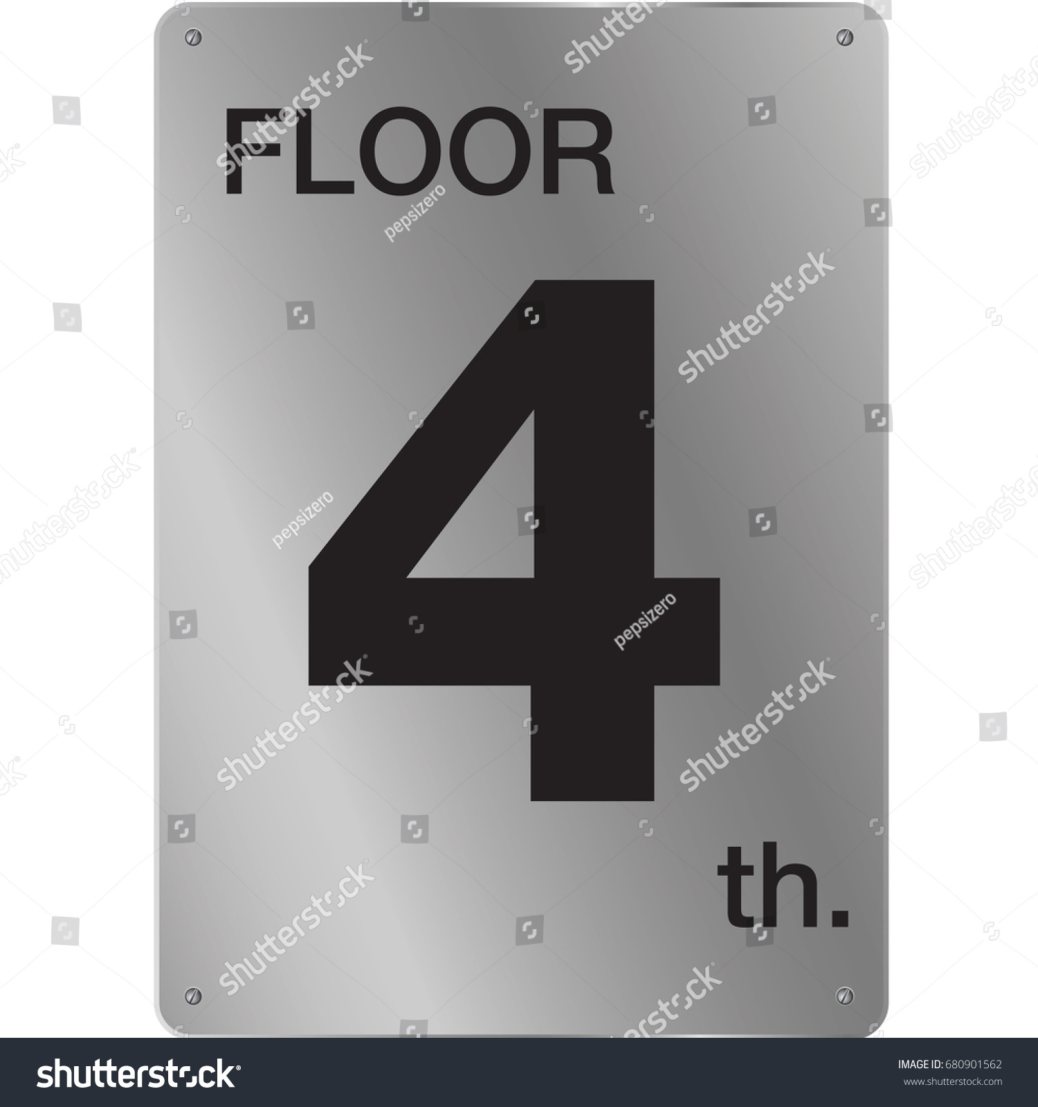 Hotel Fourth Floor Number Tag