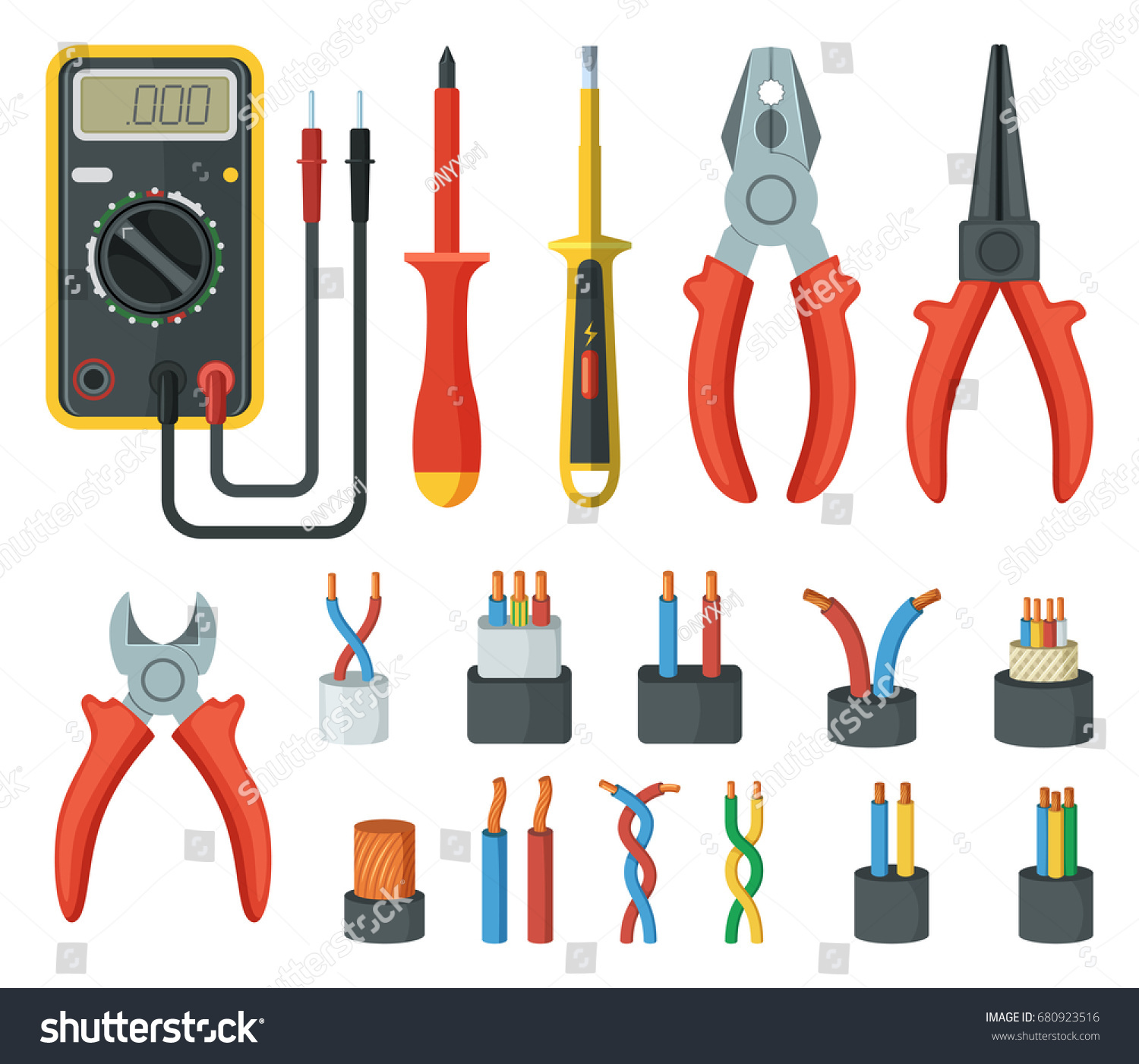 Electronics Cables And Wires : Electrical cable wires different electronic tools stock