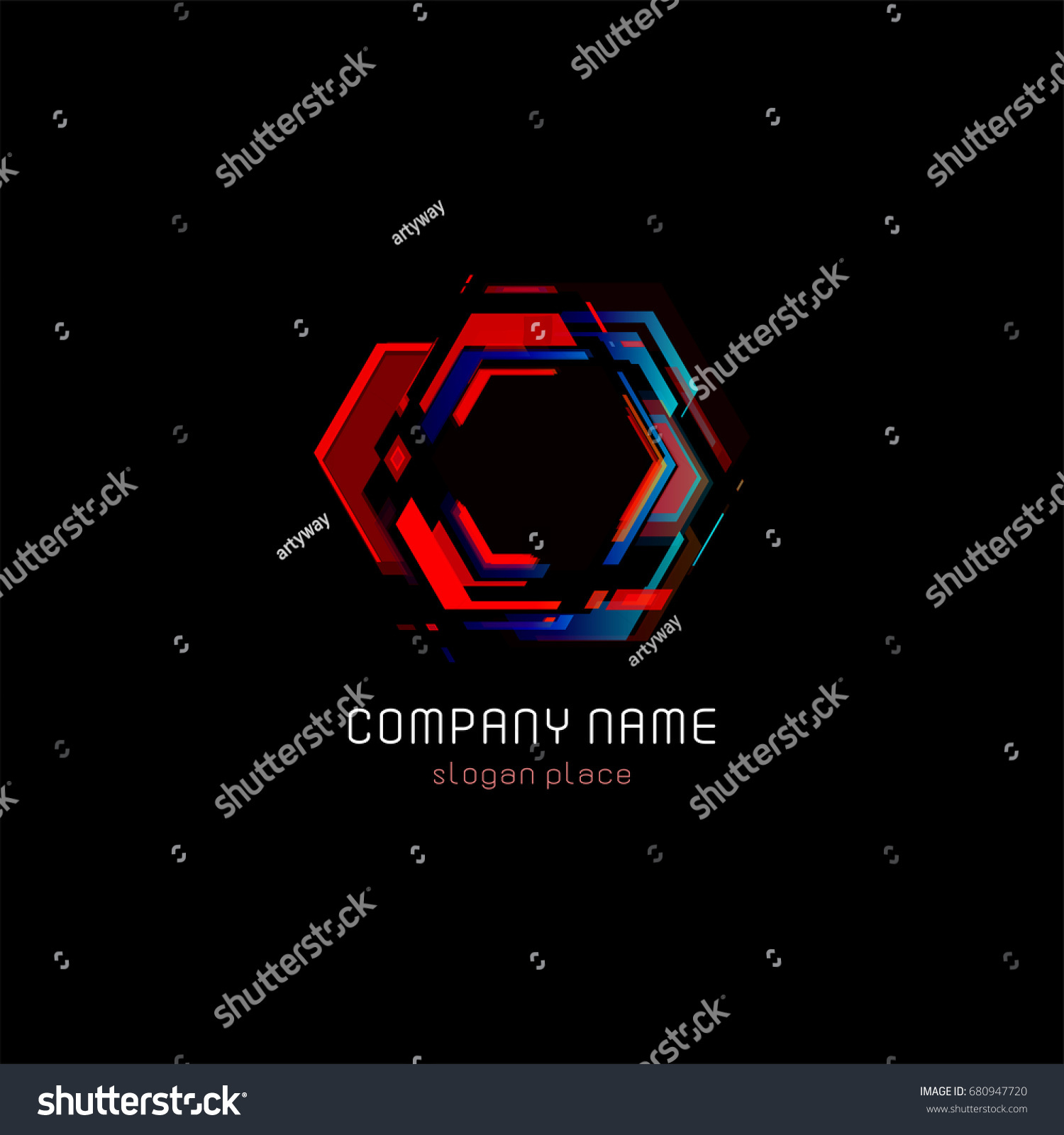 Futuristic Reactor Abstract Colorful Vector Logo Template Innovative Technologies Digital Design Effect Logotype On Black