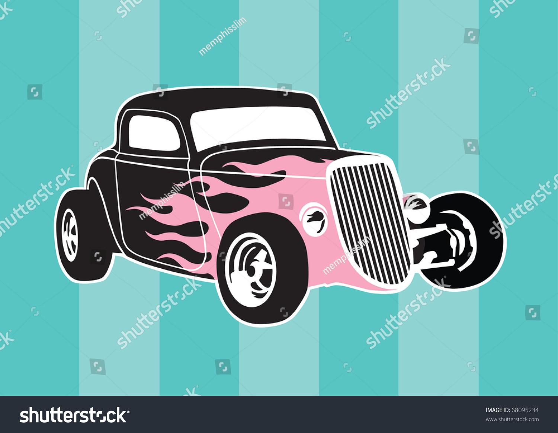 Vector Hot Rod Pink Flames Stock Vector 68095234 - Shutterstock
