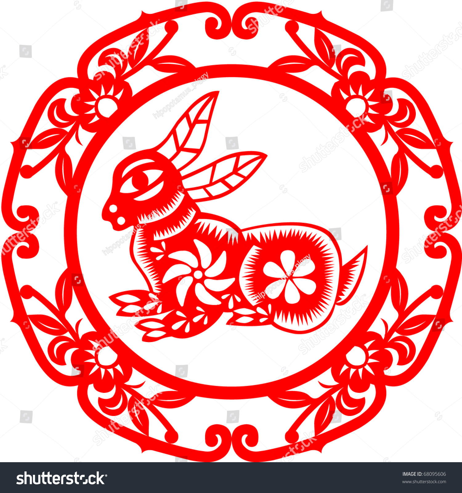 chinese new year rabbit stock vector 68095606 shutterstock. Black Bedroom Furniture Sets. Home Design Ideas
