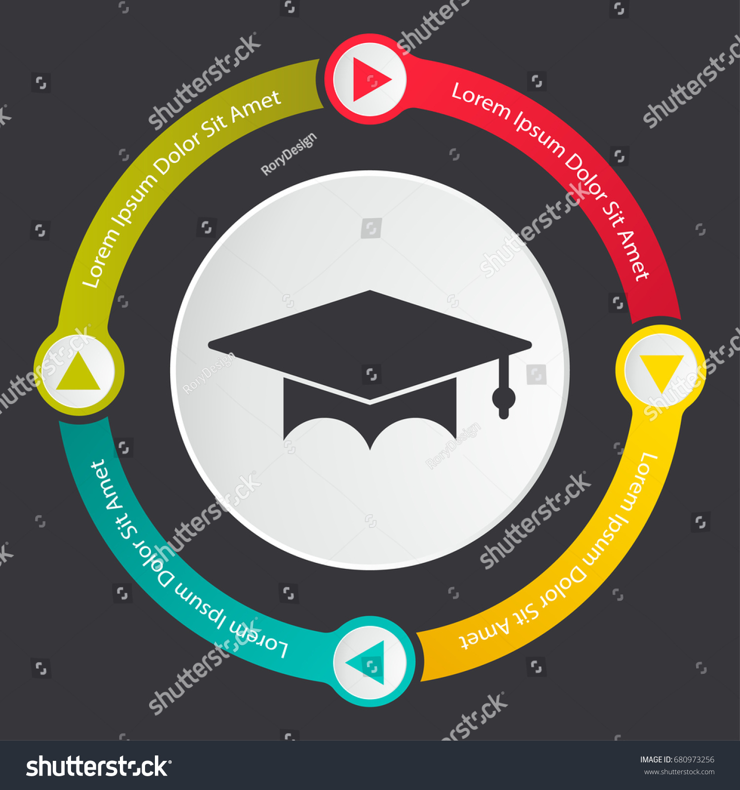 Graduation Hat Icon Graduate Infographics Template Stock Vector ...