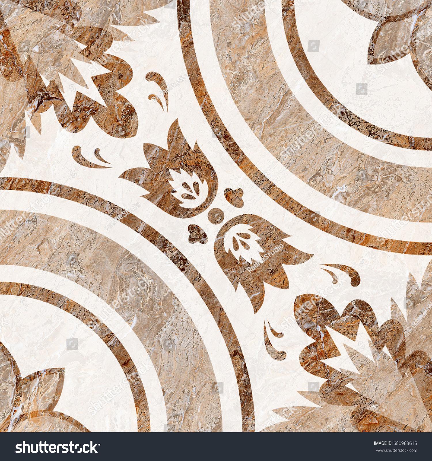 Marble Floor Tile Medallion Patterns Luxurious Stock Illustration