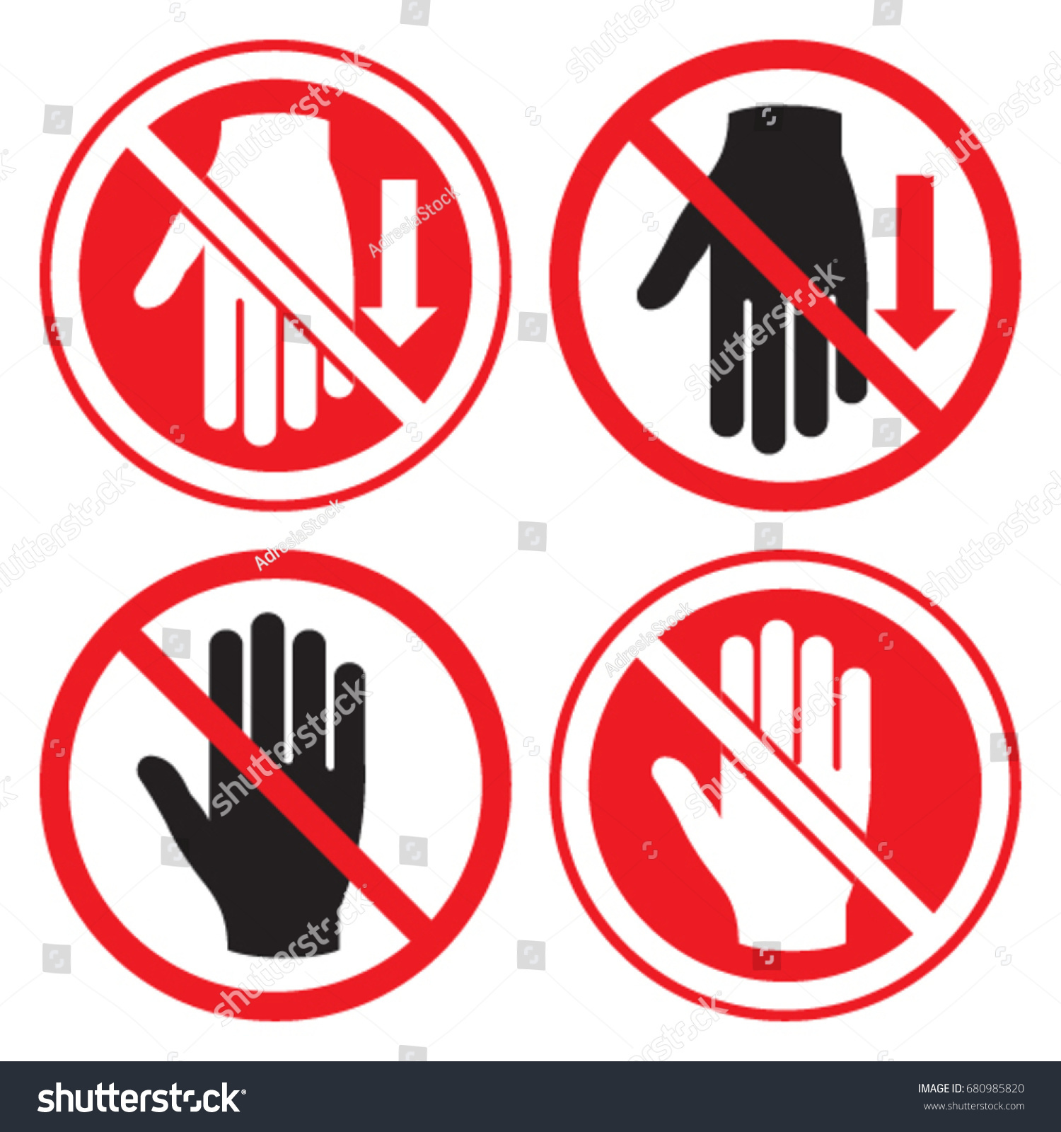 Preventative symbols stop hold touch insert stock vector 680985820 preventative symbols to stop hold touch and insert the hand buycottarizona Choice Image