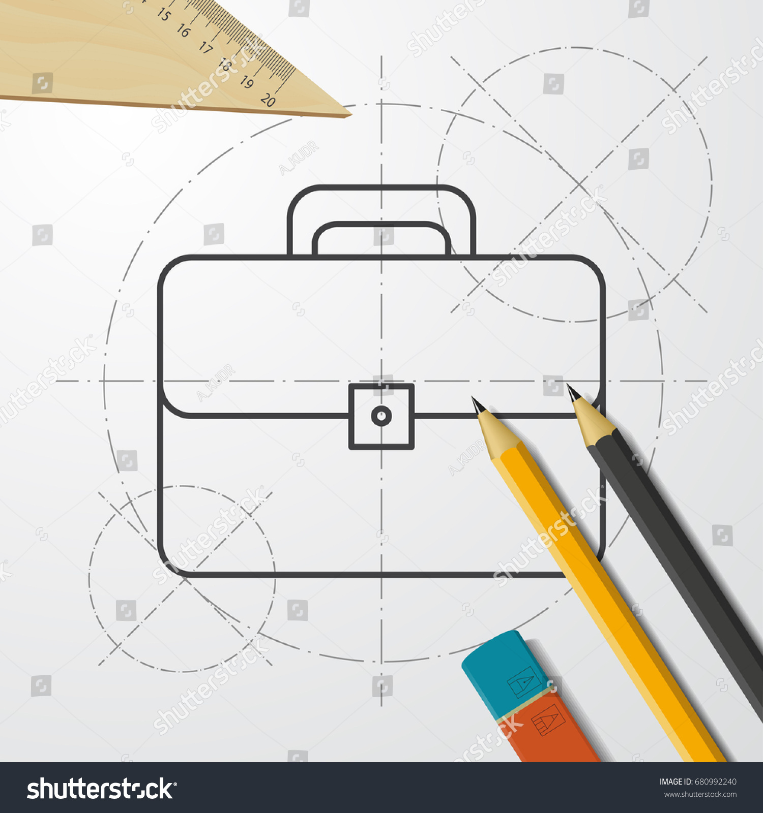 Vector blueprint case icon on engineer stock vector 680992240 vector blueprint case icon on engineer and architect background business collection malvernweather Images