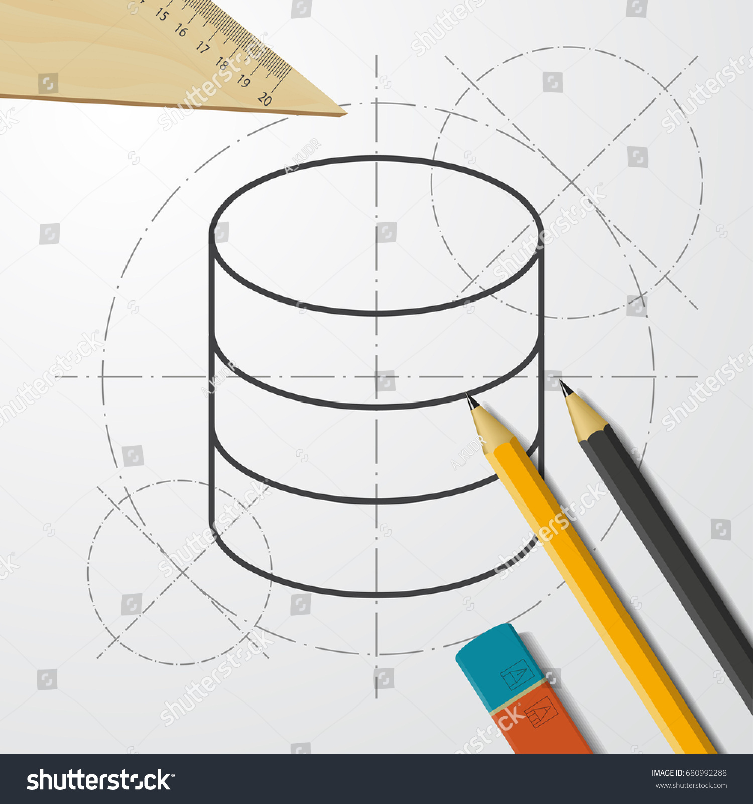 Fantastic blueprint database contemporary electrical and wiring vector blueprint database icon on engineer stock vector 680992288 malvernweather Gallery