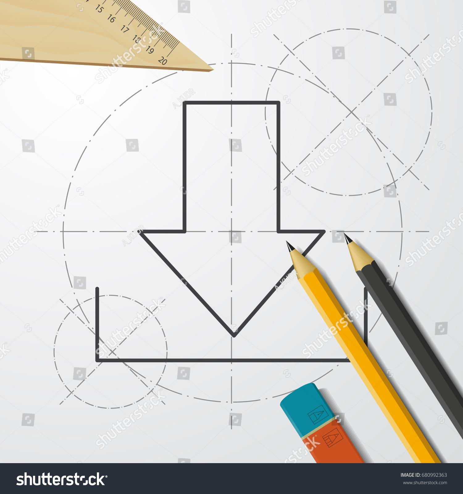 Vector blueprint download icon on engineer stock vector 680992363 vector blueprint download icon on engineer and architect background business collection malvernweather Gallery