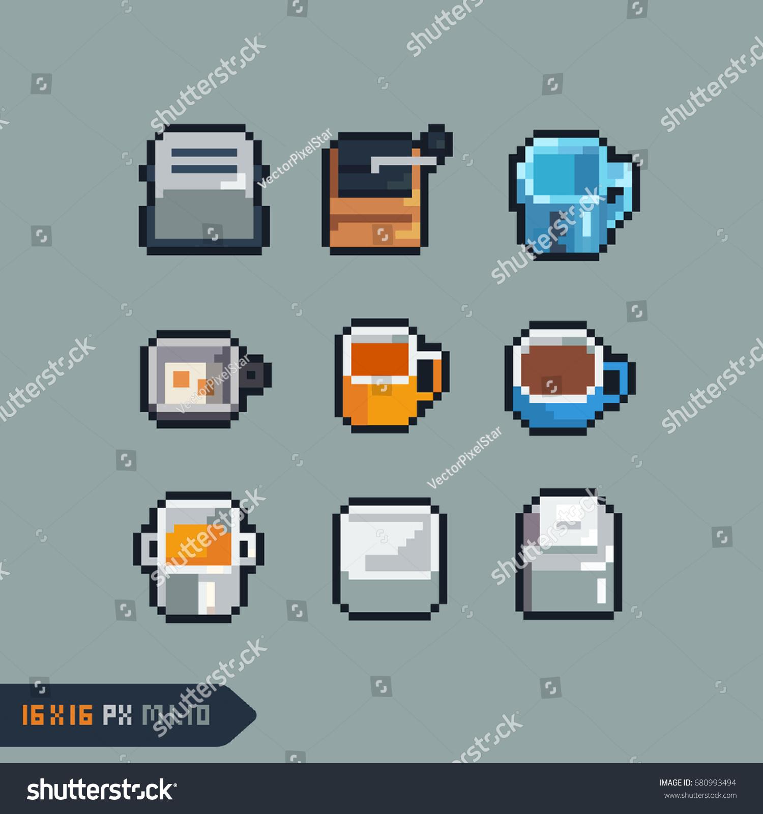 Kitchen Tools Icons Set Pixel Art Stock Vector (Royalty Free ...