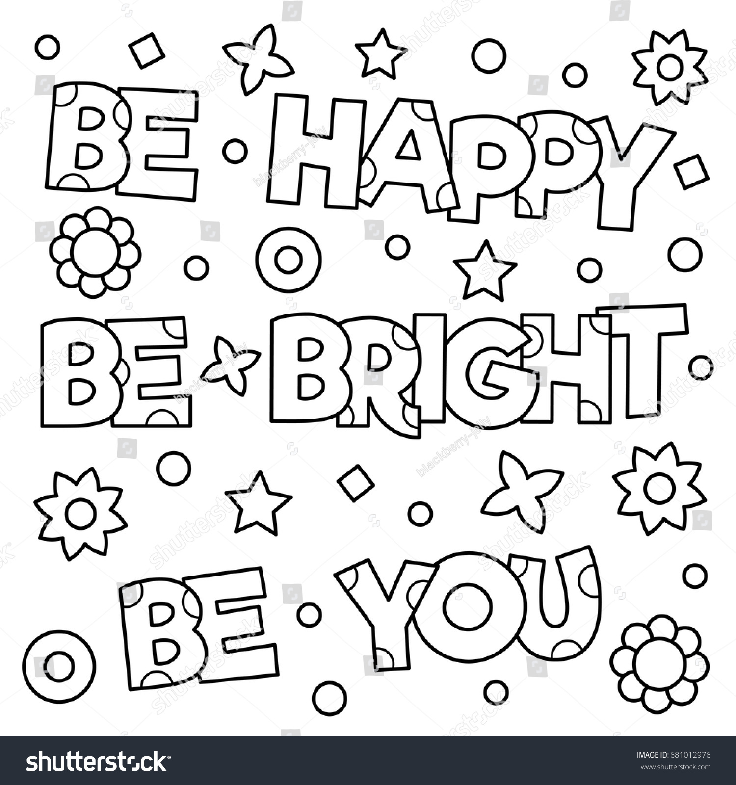 Inspirational Coloring Page Black White Vector Stock Vector