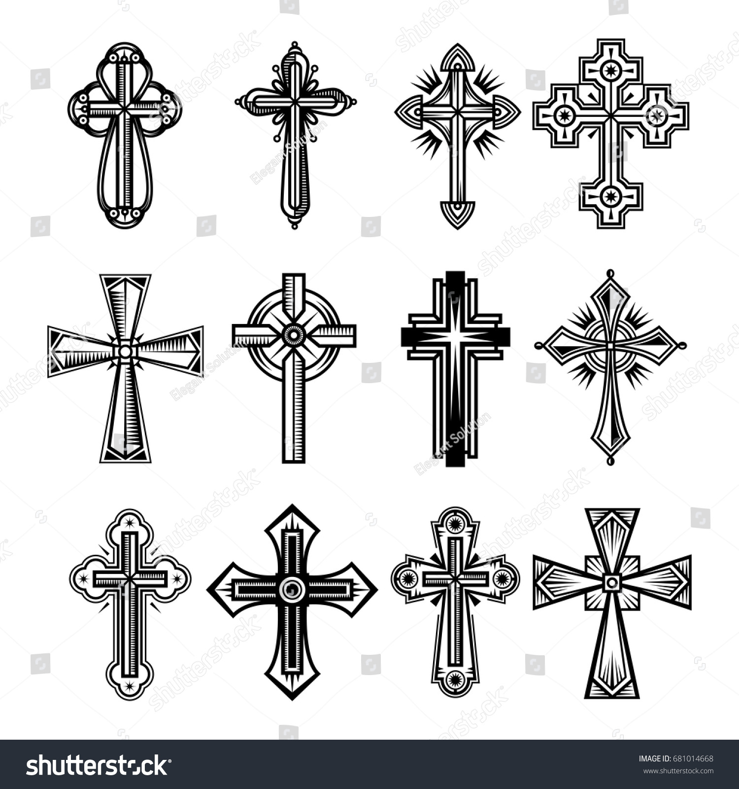 Set Isolated Christian Catholicism Crosses Religion Stock Vector