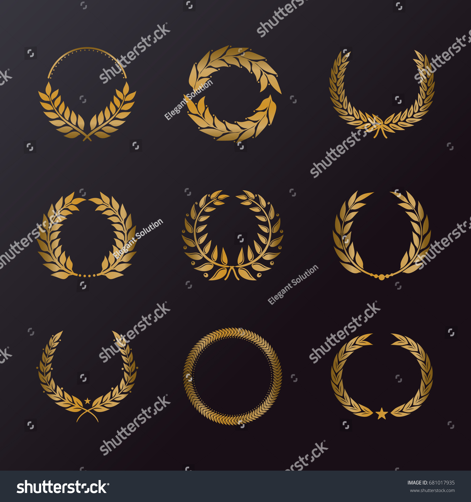 Laurel Wreath Icons Different Shapes Symbol Stock Vector Royalty