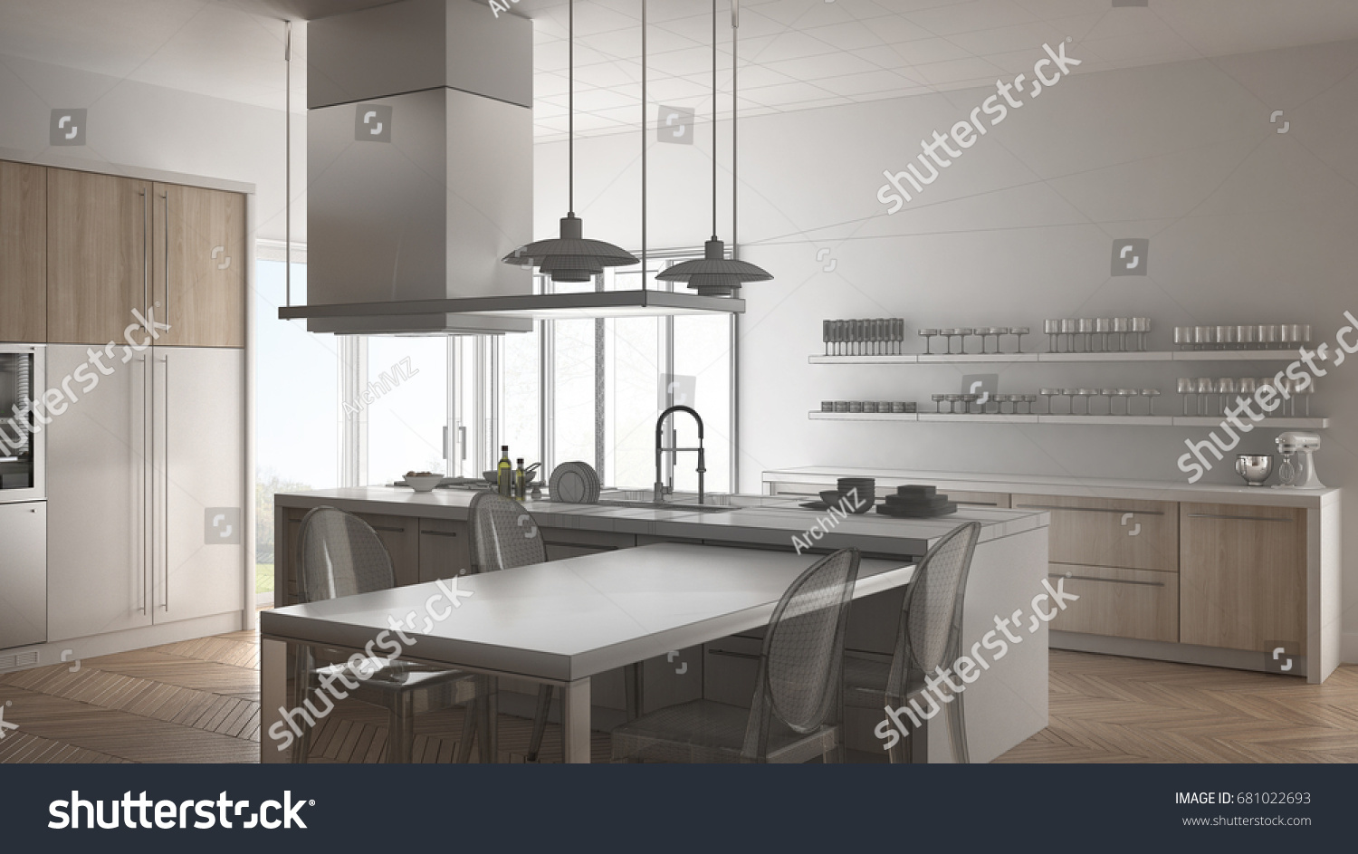 Unfinished Project Minimalistic Modern Kitchen Table Stock ...