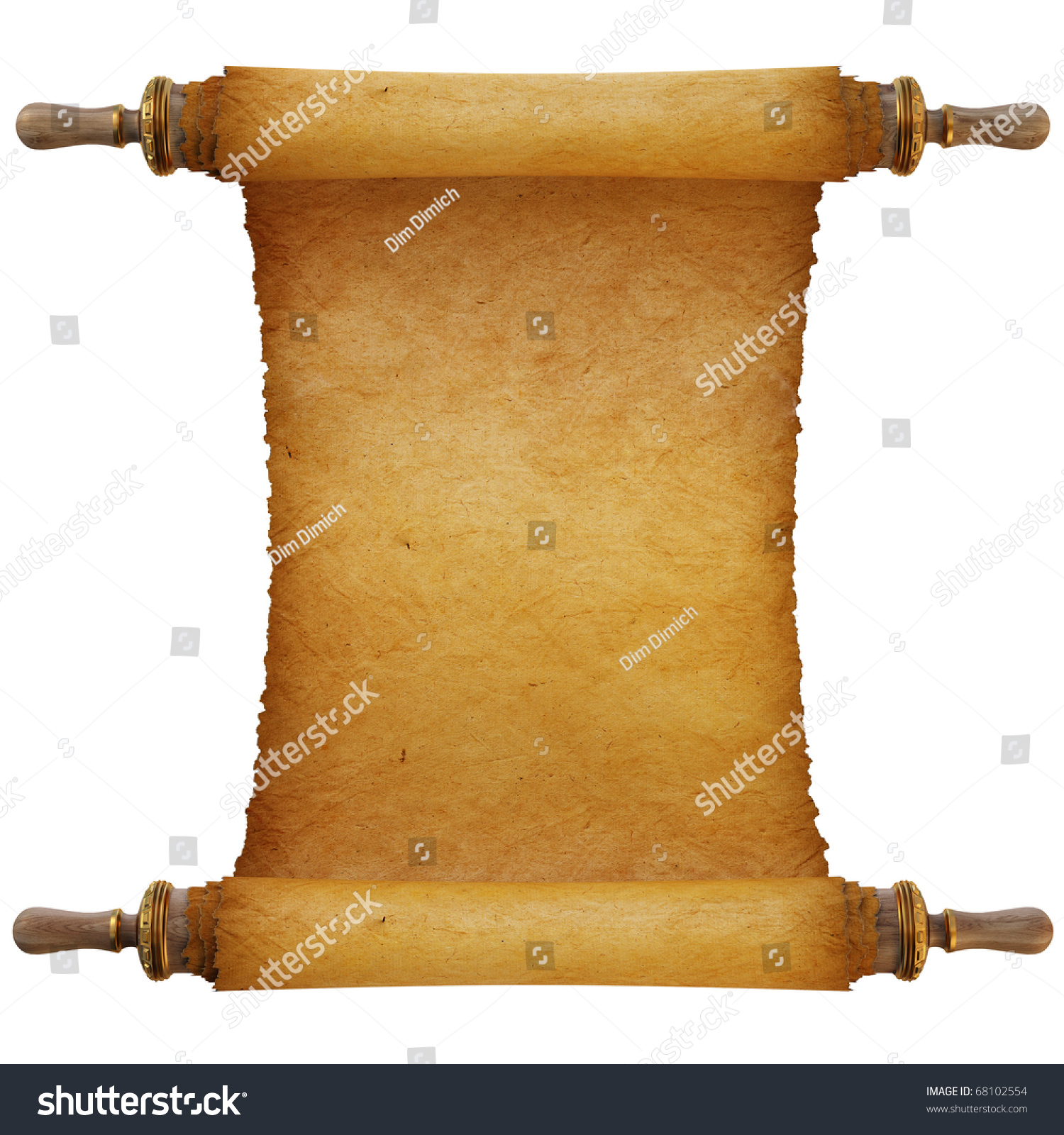 Antique Scrollimgs: Ancient Antique Scroll On White Background Stock