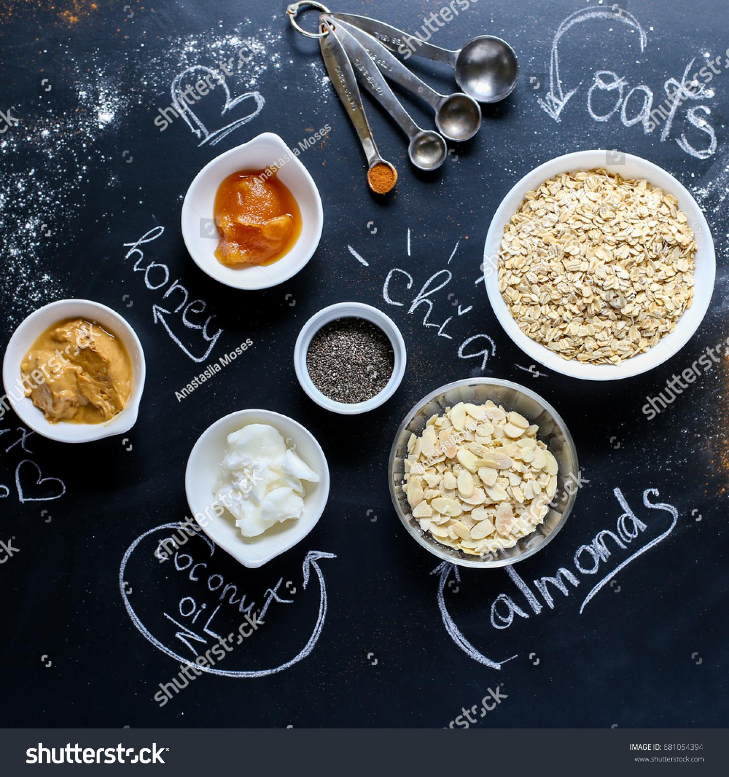 Ingredients Granola Preparation Cooking Oat Almond Stock Photo (Edit