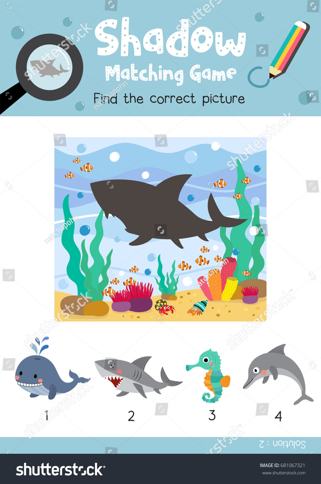 Shadow Matching Game By Finding Correct Stock Vector (Royalty Free ...