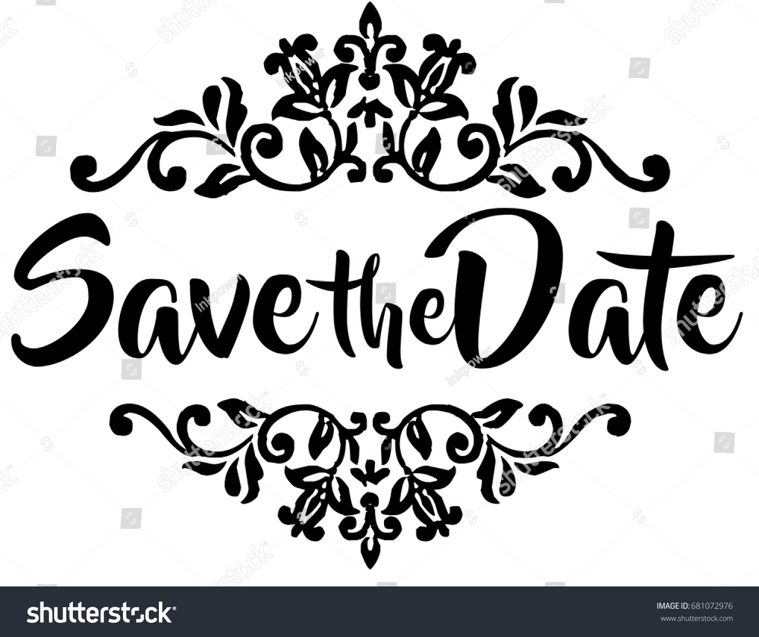 Wedding Save Date Word Art Design Stock Vektorgrafik Lizenzfrei