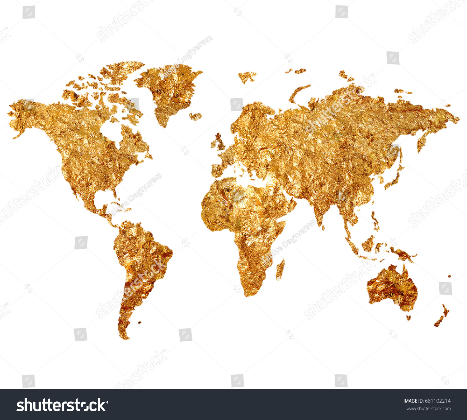 Golden map world on white background stock illustration 681102214 golden map of the world on a white background map of the planet in gilding gumiabroncs Gallery