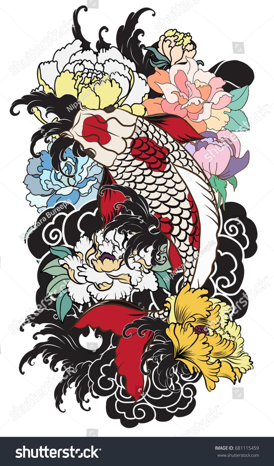 Hand Drawn Koi Fish Flower Tattoo Stock Vector 681115459 - Shutterstock