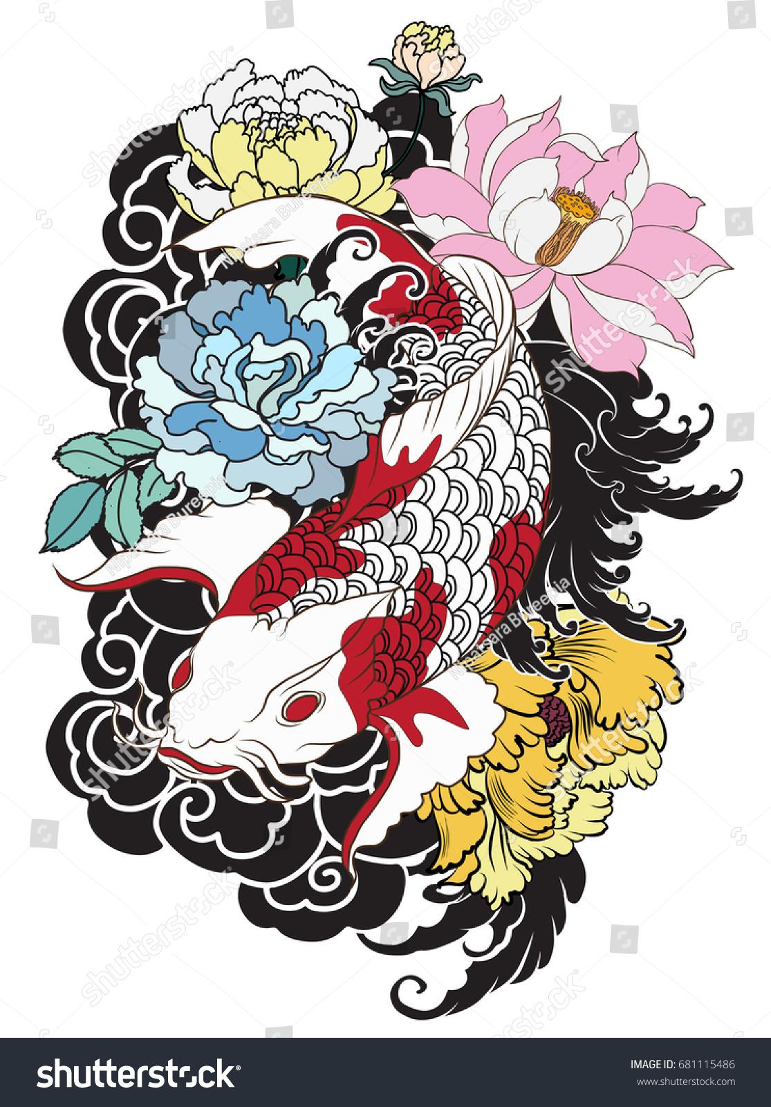Hand drawn koi fish flower tattoo stock vector 681115486 shutterstock hand drawn koi fish with flower tattoo for armlorful koi carp with water splash izmirmasajfo