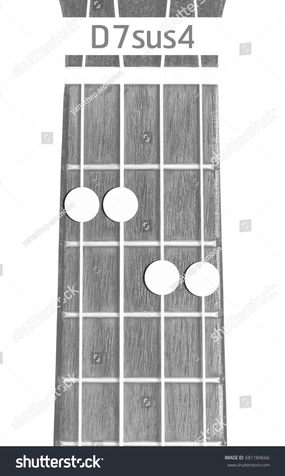 Ukulele Chord D 7 Sus 4 On White Background Stock Photo Edit Now