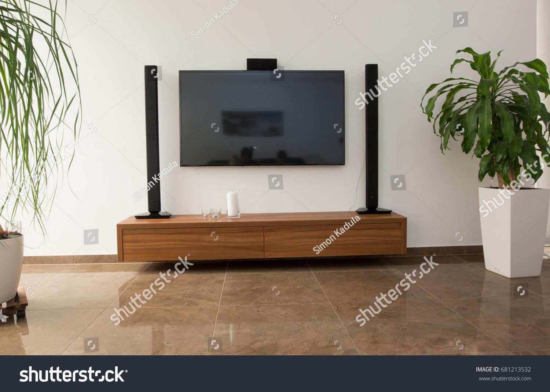 Modern Living Room Huge Tv Television Stock Photo Edit Now 681213532