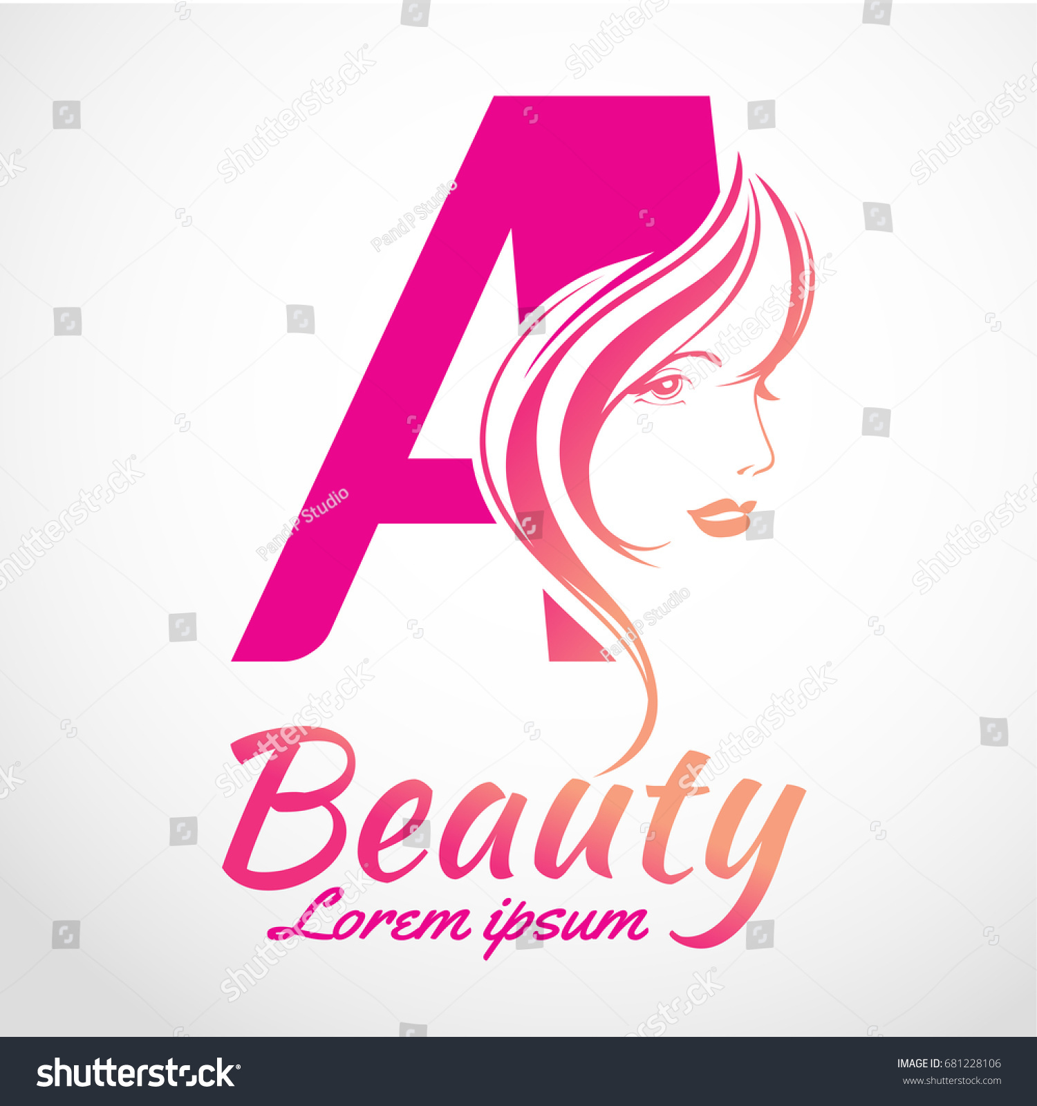 Abstract letter logo beauty salon vector stock vector for Abstract beauty salon