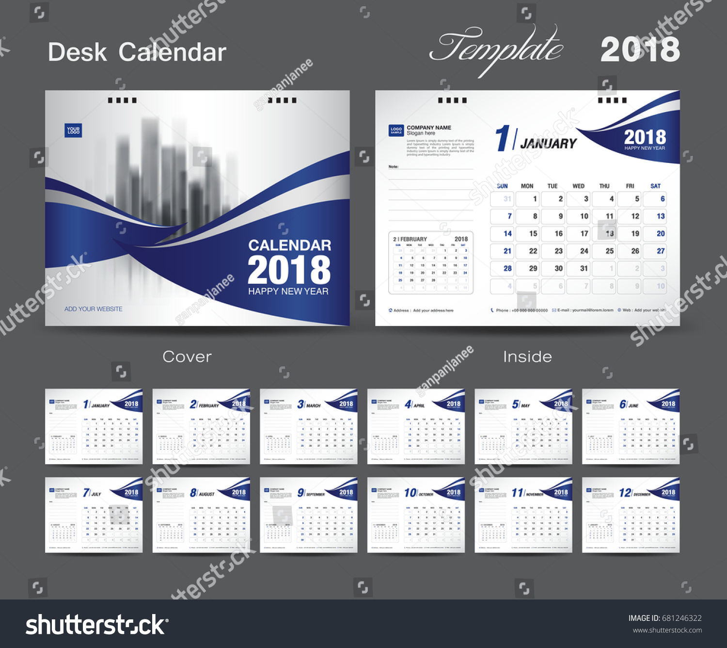 Calendar Cover Page Design : Set desk calendar template design stock vector