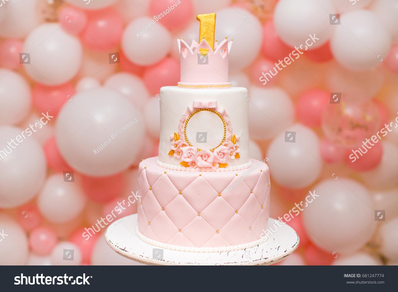 First Birthday Princess Cake Crown On Stock Photo Edit Now