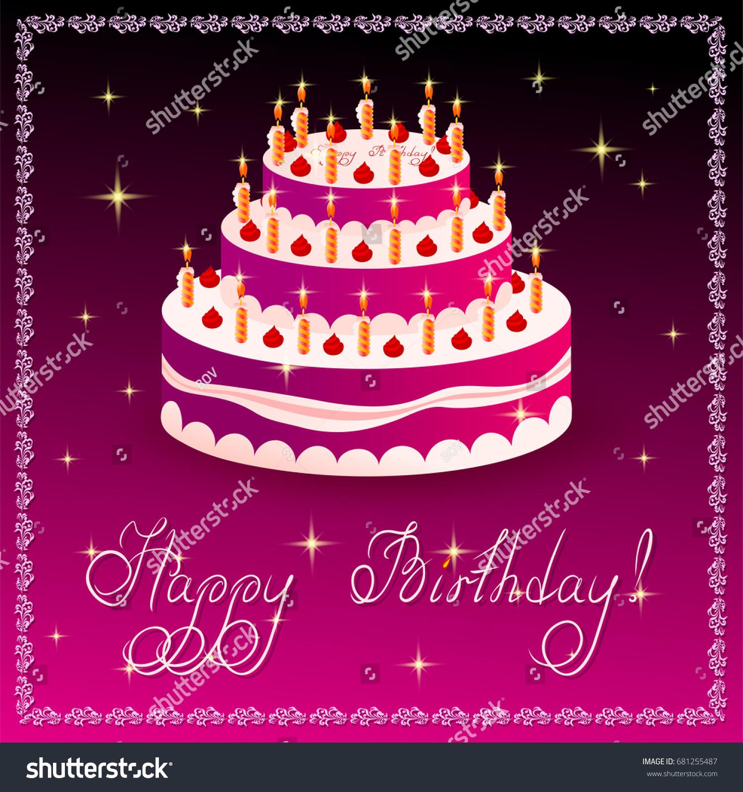 Happy Birthday Greeting Card Template Cake Stock Vector 681255487    Shutterstock