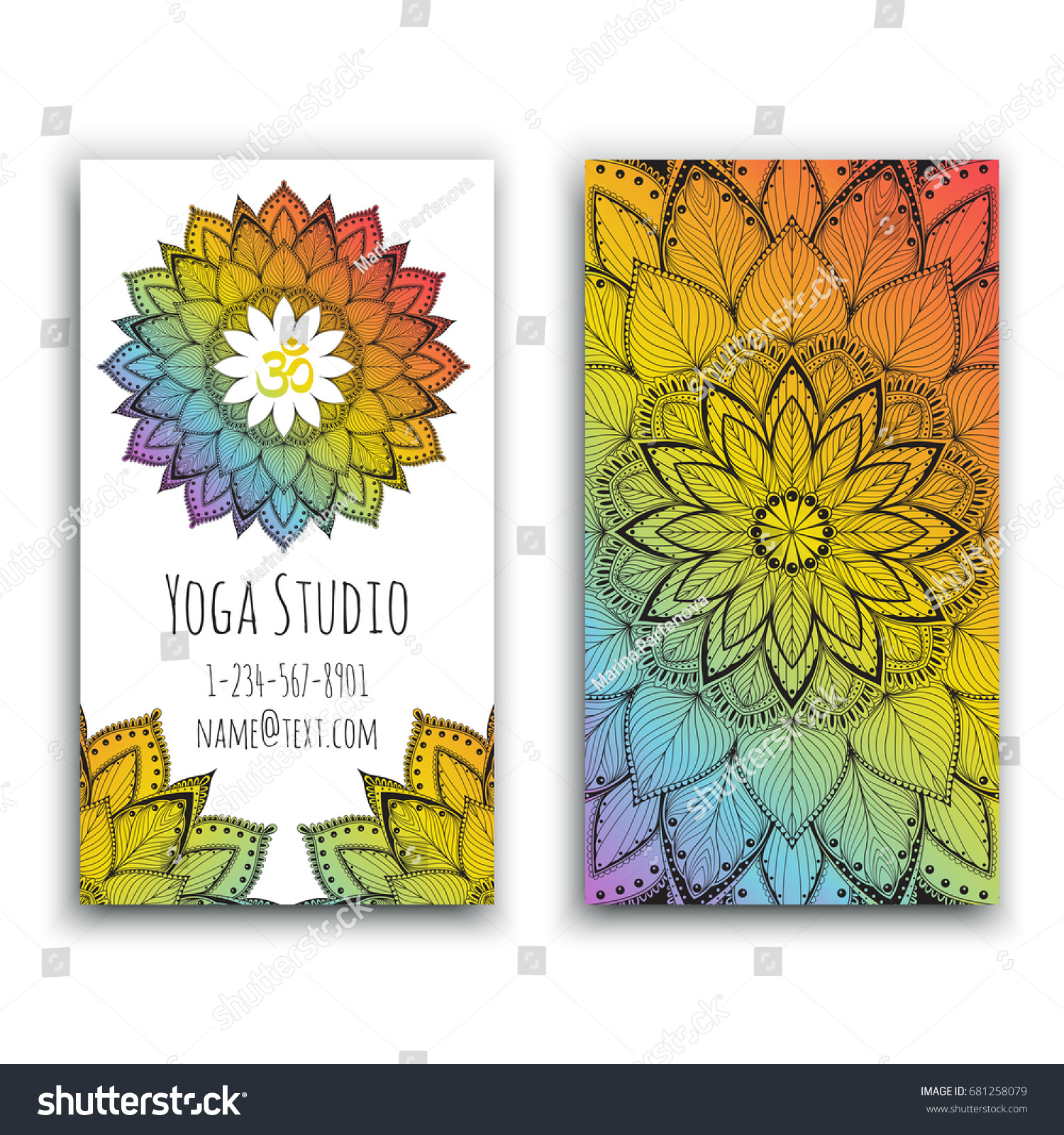 Yoga Studio Business Card Mandala Design Stock Vector Royalty Free 681258079