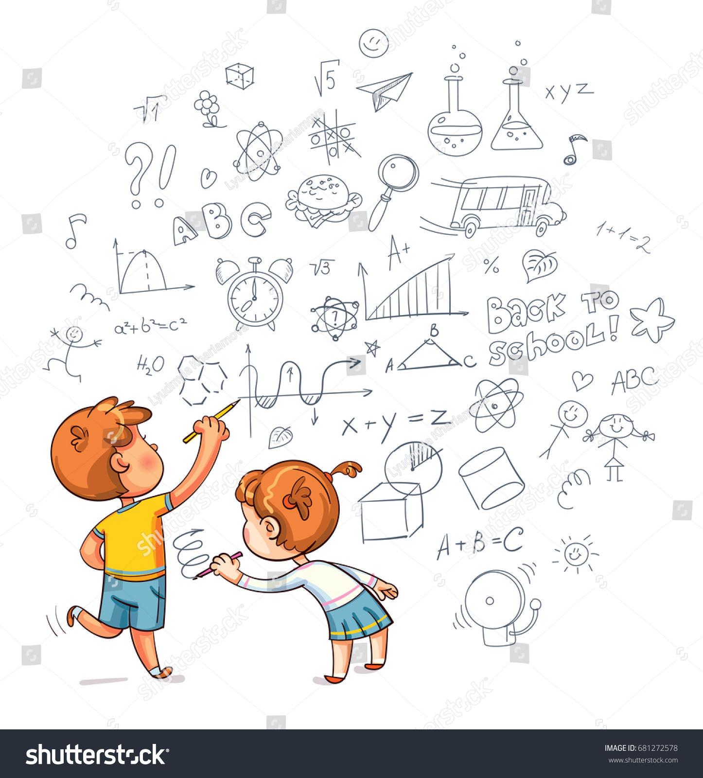 kids drawing boy draw doodle stock vector 681272578