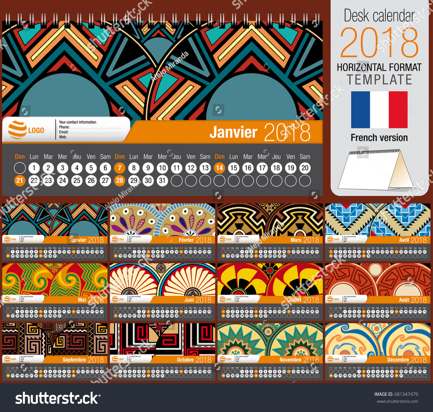 Desk Triangle Calendar 2018 Template Native Stock Vector Royalty