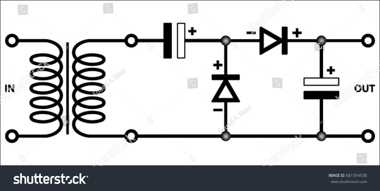 Voltage Doubler Greinacher Circuit Stock Vector Royalty Free Dc