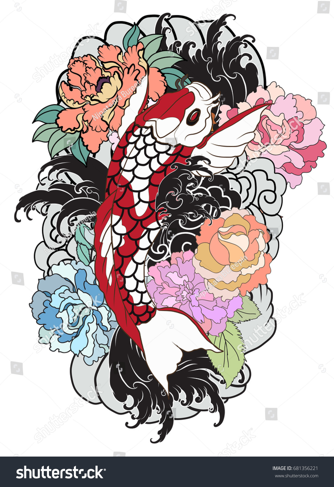 Hand Drawn Koi Fish With Flower Tattoo For Armlorful Koi Carp